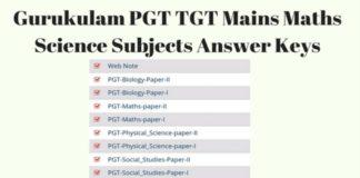 Gurukulam PGT, TGT Mains Maths, Science Subjects Answer Keys