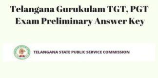 Telangana Gurukulam TGT, PGT Exam Preliminary Answer Key Releasing Today