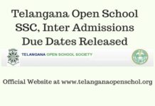 Telangana Open School SSC, Inter Admissions Due Dates Released