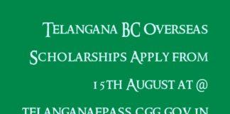 Telangana BC Overseas Scholarships www.telanganaepass.cgg.gov.in