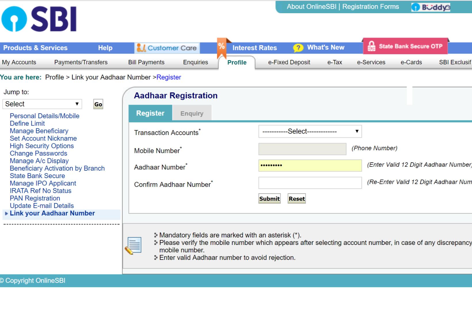 aadhar link with sbi bank account online