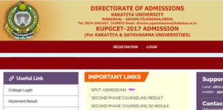 Kakatiya University KU PGCET Spot Admissions