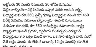 Telangana Inter March 2018 Exam fee amount extended