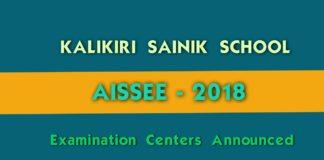 AISSEE Kalikiri Sainik school Admissions 2018