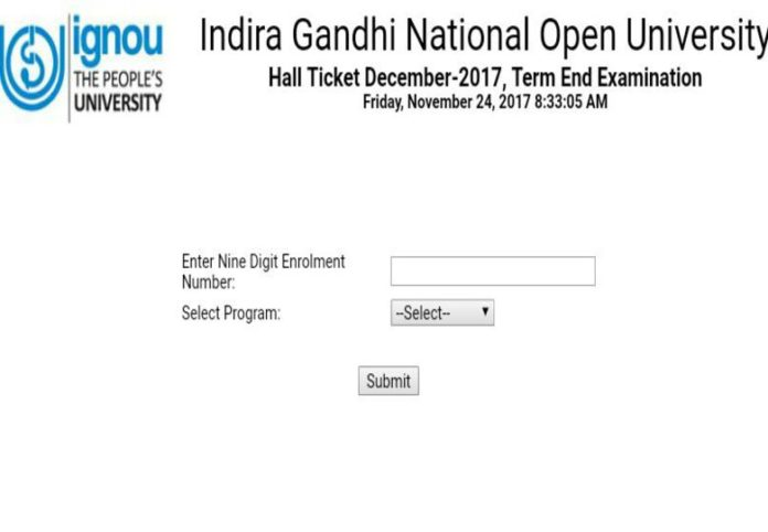 IGNOU Term end Exam December 2017 Hall tickets released on ignou.ac.in