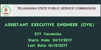 TSPSC AEE notification 2017 released apply at tspsc.gov.in