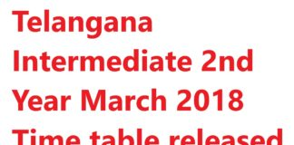 Telangana Intermediate 2nd Year March 2018 Time table released
