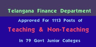 Telangana govt approved to fill 1113 teaching, non-teaching posts in junior colleges