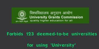UGC nixes 123 deemed-to-be varsities