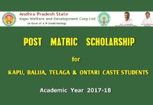 AP Kapu Post Matric Scholarships from 2017-18, apply @ jnanabhumi.ap.gov.in