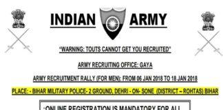 Army Open Rally Bharti ARO Gaya Bihar On 06 to 18 Jan 2018