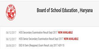 Haryana Open School Results 2017
