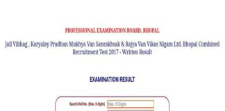 MP Vyapam Bhopal Combined Test 2017 Results released at www.vyapam.nic.in