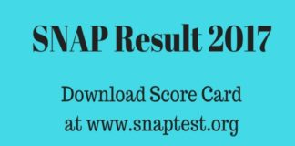 SNAP Result 2017, SNAP Score Card Released at snaptest.org