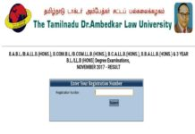 TNDALU Dr.Ambedkar Degree Law University Results 2017 Declared at tndalu.ac.in