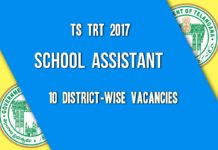 TS TRT 2017 Breakup School Assistant (SA)-1941 Vacancies District Wise released