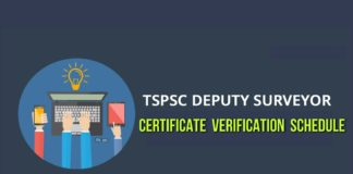 TSPSC SSLRD Deputy Surveyors Results, certificate verification schedule announced
