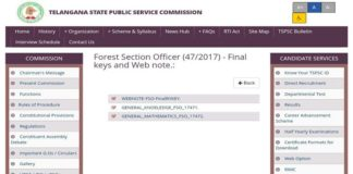 Telangana TSPSC FSO Final Keys released, Results Soon