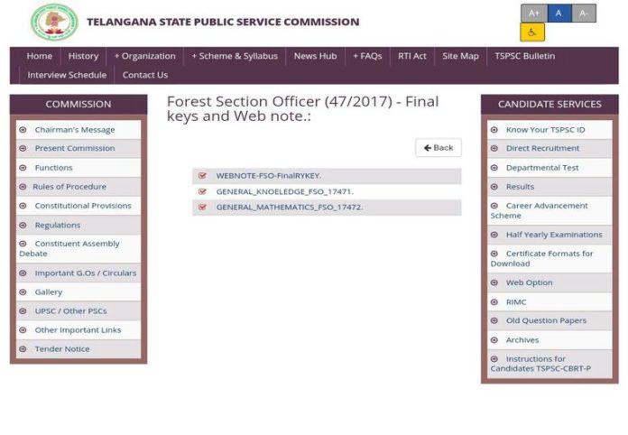 Telangana TSPSC FSO Final Keys released, Results Soon
