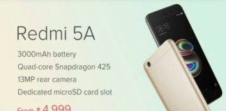 Xiaomi Redmi 5A Launched in India Starting at Rs 4,999