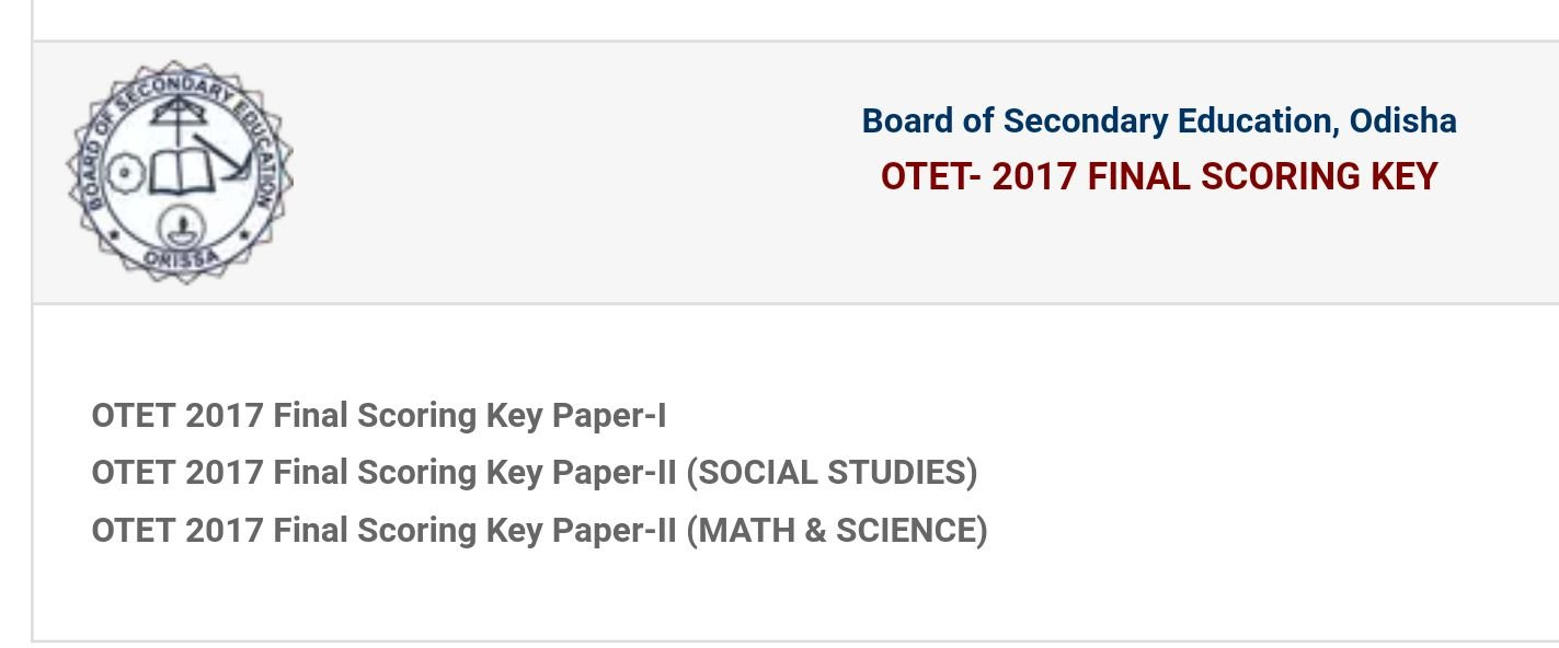 OTET 2017 Results Declared, BSE Odisha final Scoring Key Paper 1@2 Results