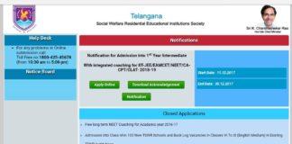 TSWREIS Admissions 2018 Online Opened at tswreis.telangana.gov.in