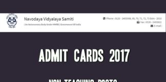 JNVST Non Teaching Admit Cards releeased at @ cdn.digialm.com