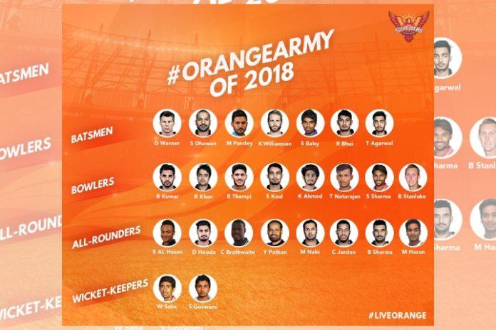 SRH 2018 Team Players IPLT20 Season 11 Sunrisers believe in bowlers