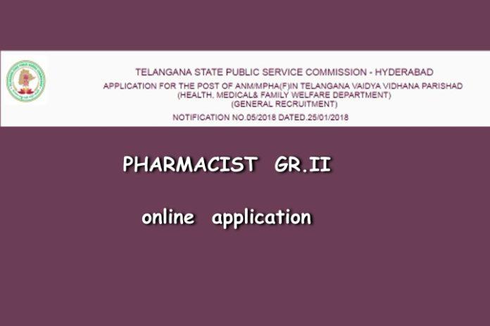 TSPSC Pharmacist 2018 online application started