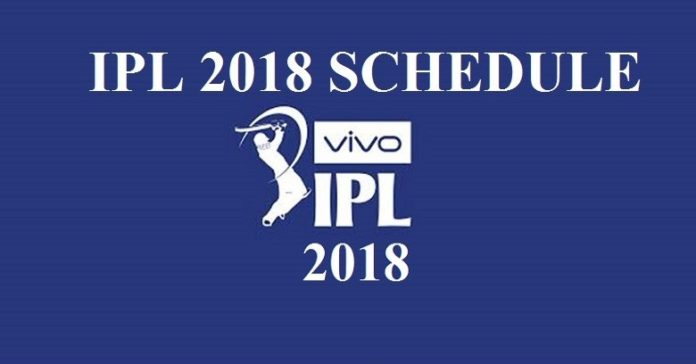 VIVO IPL 2018 Full Schedule Time Table with venue ground details