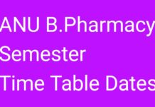 ANU B.Pharmacy Semester Exam Time Table 2018 Released