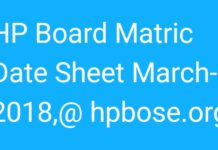 HP Board Matric Date Sheet March-2018 released at hpbose.org