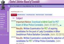 CSBC Bihar Police Constable PET Exam Admit Card Released at csbc.bih.nic.in