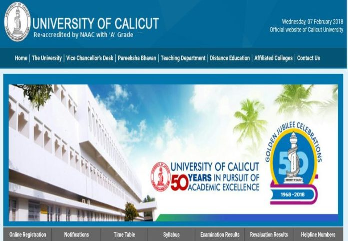 Calicut University Degree UG, PG Results Released at cupbresults.uoc.ac.in
