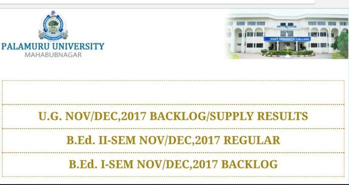 PU UG Degree OctNov 2017 Supply Exams Results Released at palamuruuniversity.com