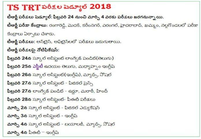 TS TRT 2018 Exam Dates Schedule for SGT, SA, LP, PET, PD Posts
