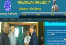 Vidyasagar University BSc 1st Sem Results Released at vidyasagar.ac.in