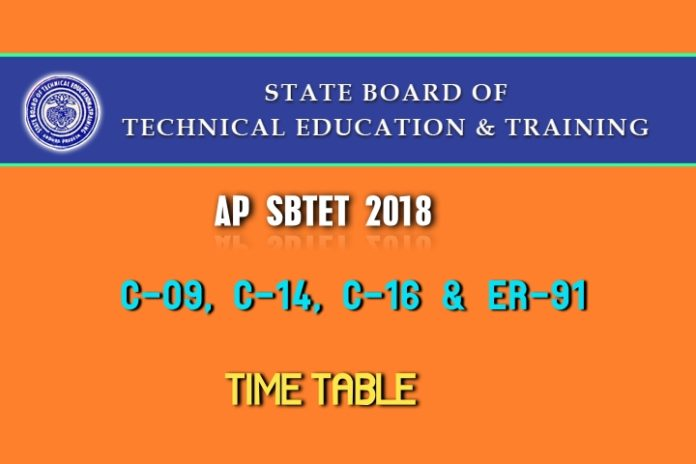 AP SBTET Time Table 2018 released of Diploma Courses C9, C14, C16, ER91