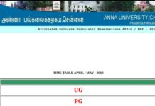 Anna University UG, PG Exam Time Table 2018 released Download at www.annauniv.edu