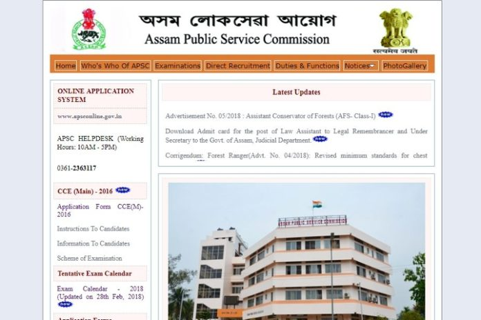 APSC Assistant Conservator of Forests Notification 2018