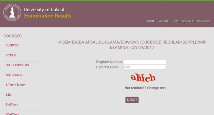 Calicut University BA, BSW, Afsal 4th Sem Results released at universityofcalicut.info