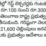 Telangana Govt Degree Colleges Guest Faculty remuneration enhanced