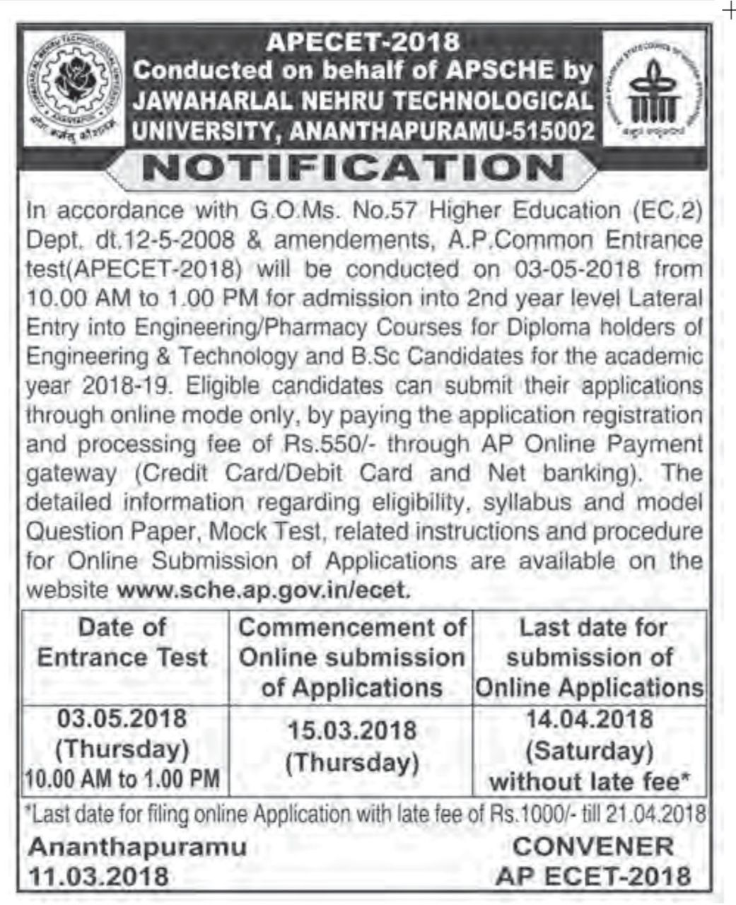 TS PGECET 2018 Notification released Apply at pgecet.tsche.ac.in