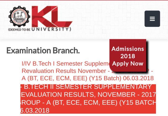 KL University UG, PG Nov 2017 Exams Results released at Kluniversity.in