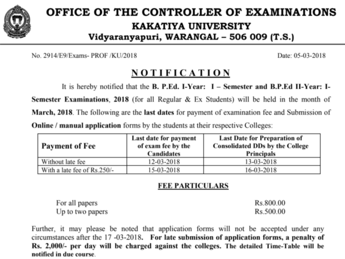 KU BPEd Exams Fee Notification released for 1st, 3rd Semester Exams