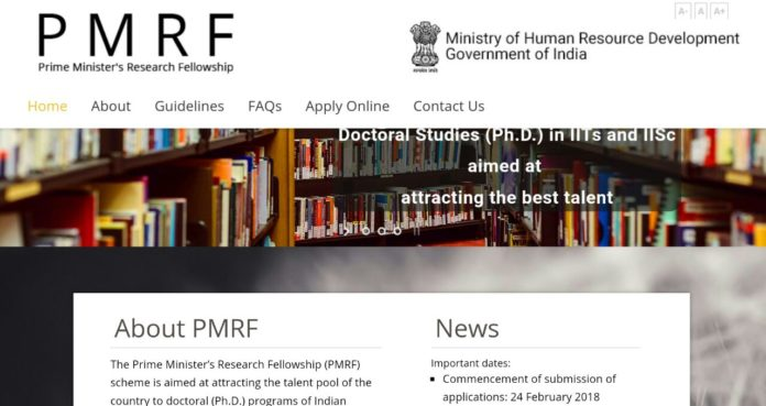 Prime Minister's Research Fellow PMRF 2018 Online Application Opened at pmrf.in