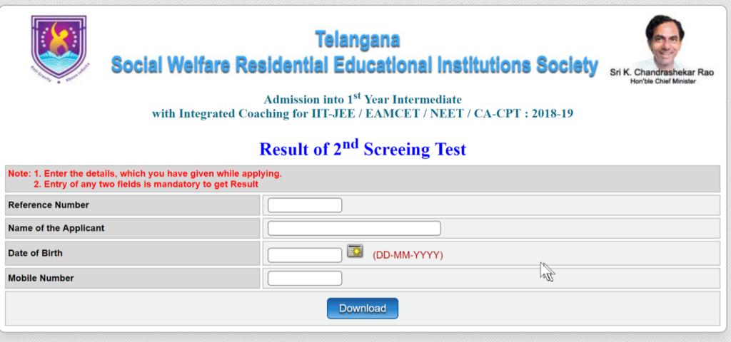 TSWREIS Inter 2nd Screening Test Results Declared at @ cet.cgg.gov.in