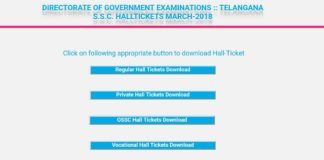 Telangana 10th Class March 2018 Hall tickets Download