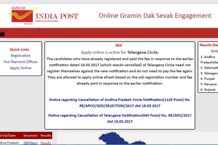 TS Postal Circle GDS Notification 2018