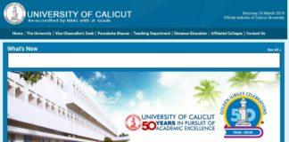 University of Calicut UG Degree BHA, BTA Semester Exams Time Table released